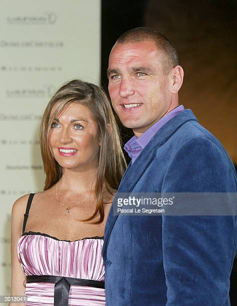 Actor and Ex Football player Vinnie Jones with his wife attend the Laureus Sport for Good Foundation Dinner and Auction at the Monte Carlo Sporting...