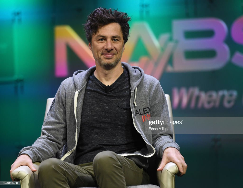 Actor and executive producer and director of the televsion show 'Alex Inc.' Zach Braff smiles during NAB show's 'From Podcast to Broadcast' session at the Las Vegas Convention Center on April 10, 2018 in Las Vegas, Nevada. NAB Show, the trade show of the National Association of Broadcasters and the world's largest electronic media show, runs through April 12 and features more than 1,700 exhibitors and 102,000 attendees.