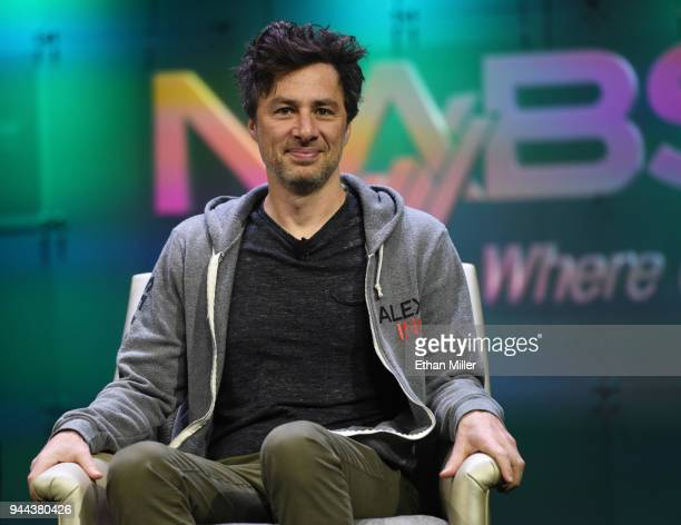 Actor and executive producer and director of the televsion show 'Alex Inc' Zach Braff smiles during NAB show's 'From Podcast to Broadcast' session at...