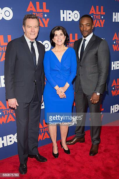 Actor and Executive Producer Bryan Cranston Luci Baines Johnson and Actor Anthony Mackie arrive at the Lyndon Baines Johnson Library and Museum on...