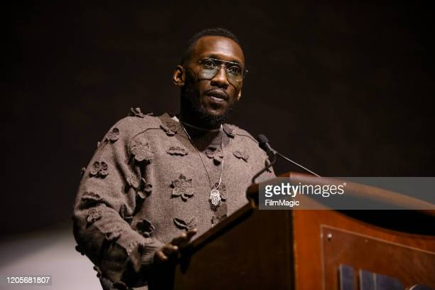 """Actor and Executive Producer Mahershala Ali speaks onstage before the premiere of """"We Are The Dream"""" on February 11, 2020 in Oakland, California."""