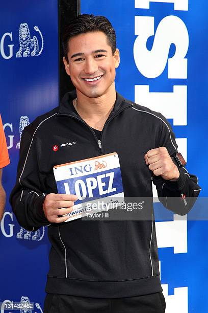 Actor and EXTRA host Mario Lopez attends the ING New York City Marathon Celebrity Runners Bib Presentation at Marathon Pavilion in Central Park on...