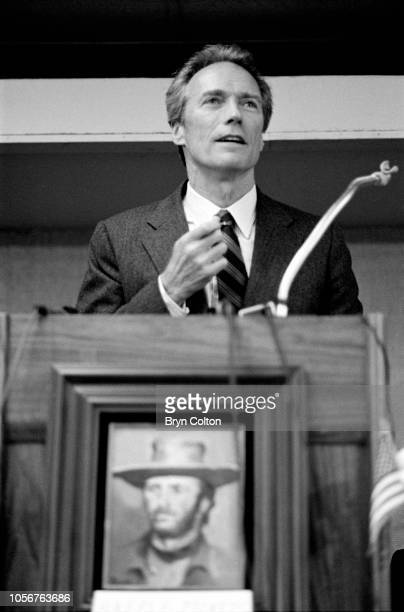 Actor and film director Clint Eastwood, speaks at an event while campaigning for the position of Mayor of Carmel, after announcing his candidacy to...