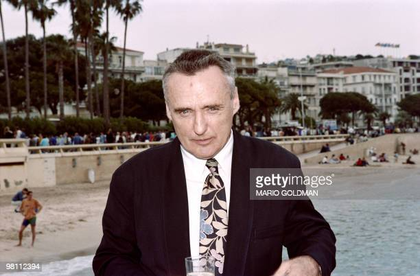 Actor and fim director Dennis Hopper answers journalists questions on May 11, 1991 during the 44th edition of the Cannes International Film Festival....