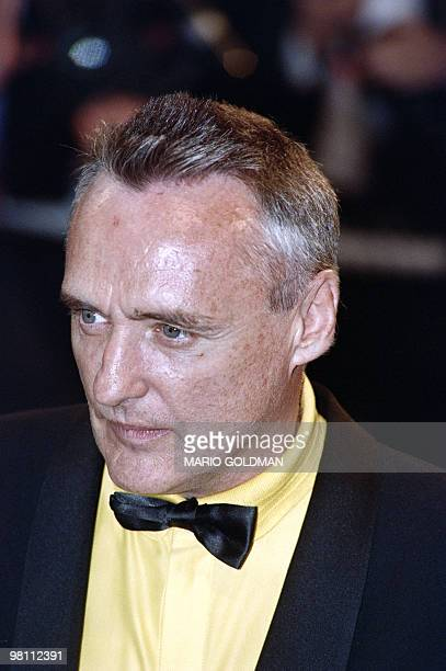 "Actor and fim director Dennis Hopper arrives at the Palais des Festivals to attend the screening of the movie ""Jungle fever"" by Spike Lee on May 16,..."