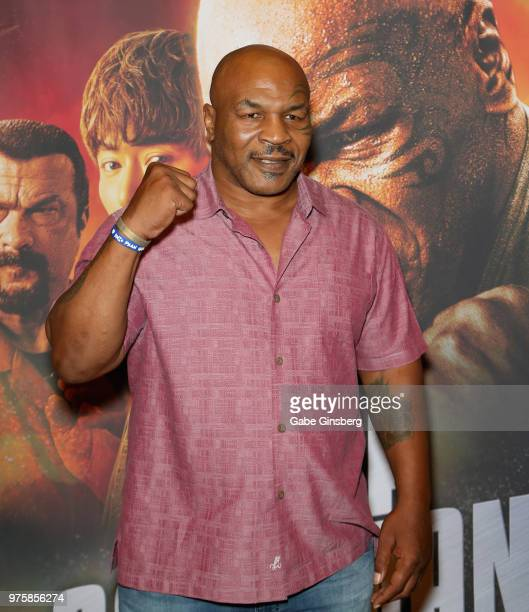 Actor and former boxer Mike Tyson attends the world premiere of the movie China Salesman at the Cannery Casino Hotel on June 15 2018 in North Las...