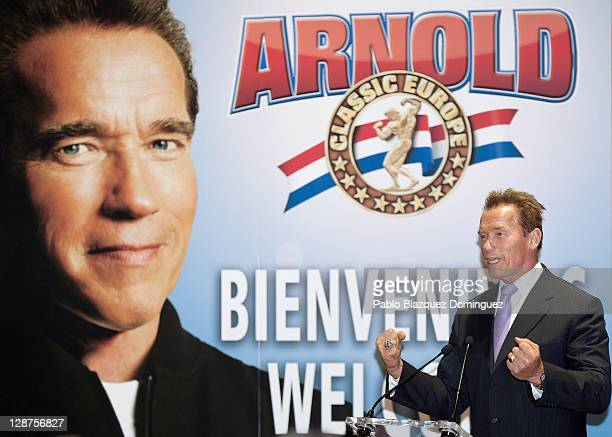 Actor and former California Governor Arnold Schwarzenegger attends 'Arnold Classic Europe' 2011 Party at Cecilio Rodriguez Gardens on October 7 2011...