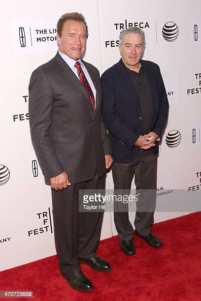 Actor and former governor of California Arnold Schwarzenegger and actor Robert De Niro attend the world premiere of 'Maggie' during the 2015 Tribeca...