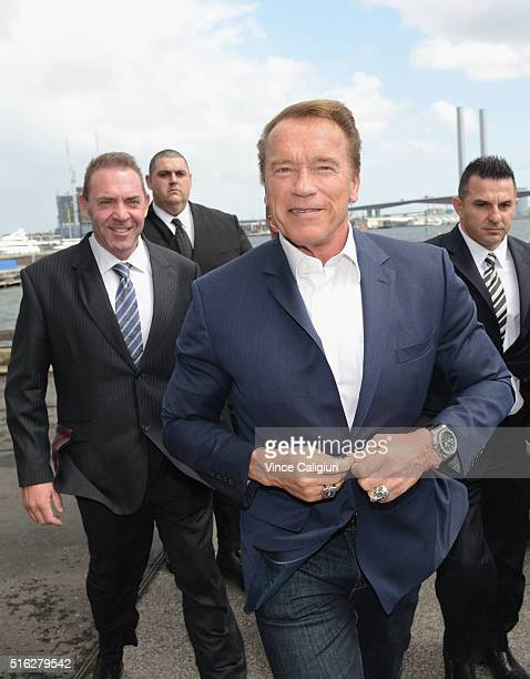 Actor and former Governor of California Arnold Schwarzenegger and Tony Doherty arriving for the Arnold Classic Sports Festival Press Conference on...