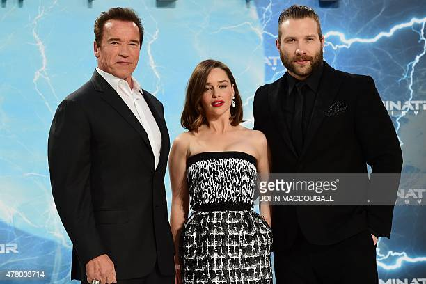 US actor and former governor of California Arnold Schwarzenegger British actress Emilia Clarke and Australian actor Jai Courtney pose for...