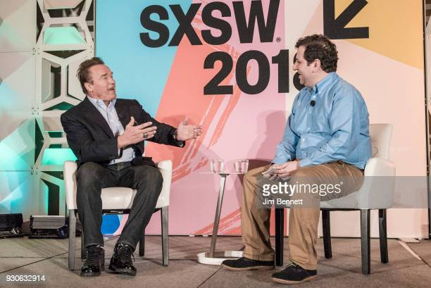 Actor and former governor of California Arnold Schwarzenegger is interviewed by Politico Chief Washington Correspondent EdwardIsaac Dovere for the...
