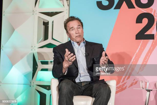Actor and former governor of California Arnold Schwarzenegger is interviewed for the Politico podcast Off Message during SXSW Interactive on March 11...
