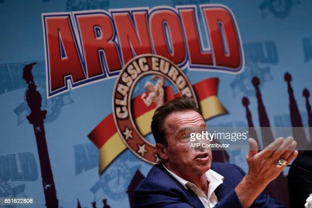 US actor and former governor of California Arnold Schwarzenegger speaks during a press conference ahead of the fitness and bodybuilding Arnold...