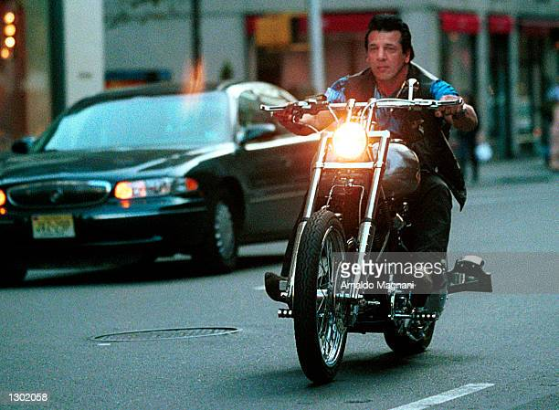 OUT*** Actor and former Hell''s Angels president Chuck Zito rides down Madison Ave in New York City without a helmet October 15 2000