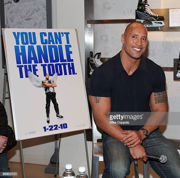 Actor and former professional wrestler Dwayne Johnson attends a QA at the NHL Powered by Reebok Store on January 20 2010 in New York City