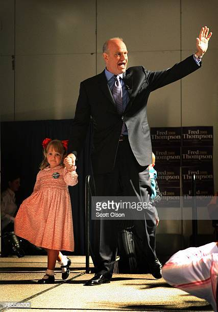 Actor and former US Senator Fred Thompson and his daughter Hayden greet people before a speech at the Polk County Convention Senator September 6 2007...