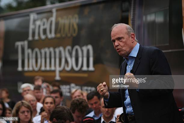 Actor and former US Senator Fred Thompson delivers a speech in front of his bus September 6 2007 in Council Bluffs Iowa Yesterday during a taping of...