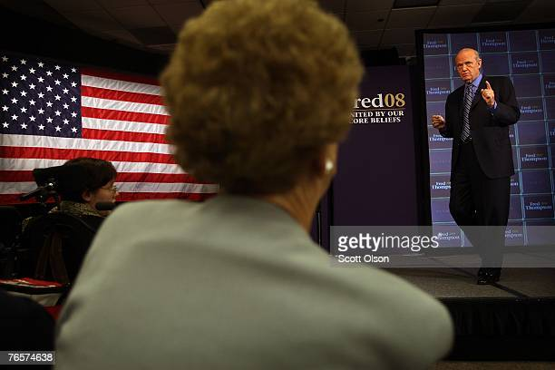 Actor and former US Senator Fred Thompson delivers a speech September 7 2007 in Sioux City Iowa This is Thompson's first campaign trip since...