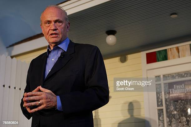 Actor and former US Senator Fred Thompson speaks with a crowd gathered for a campaign stop at Music Man Square September 7 2007 in Mason City Iowa...