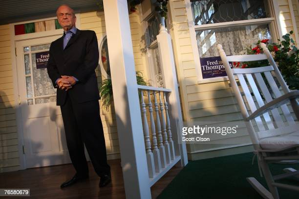 Actor and former US Senator Fred Thompson waits to be introduced at a crowd gathered for his campaign stop at Music Man Square September 7 2007 in...