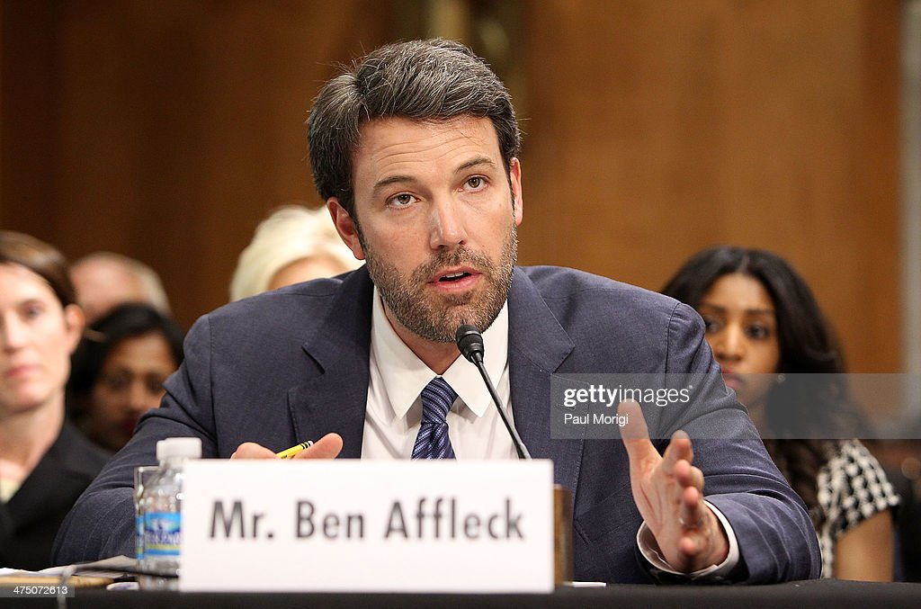 Actor and founder of the Eastern Congo Initiative Ben Affleck testifies at the US Senate Hearing On The Democratic Republic Of Congo at Dirksen Senate Office Building on February 26, 2014 in Washington, DC. The committee was hearing testimony on prospects for peace in the Democratic Republic of Congo and Great Lakes Region.