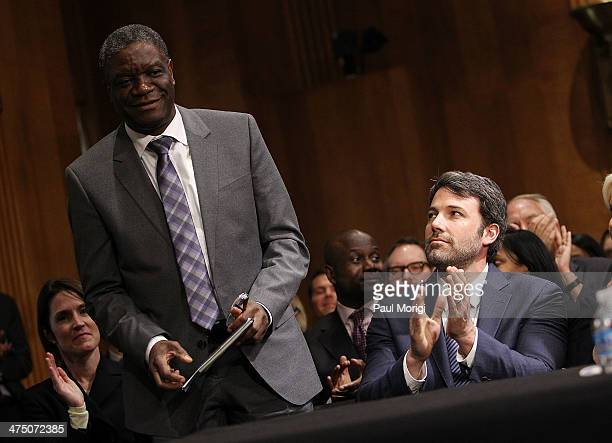 Actor and founder of the Eastern Congo Initiative Ben Affleck applauds the recognition of pioneering doctor Denis Mukwege at the US Senate Hearing On...