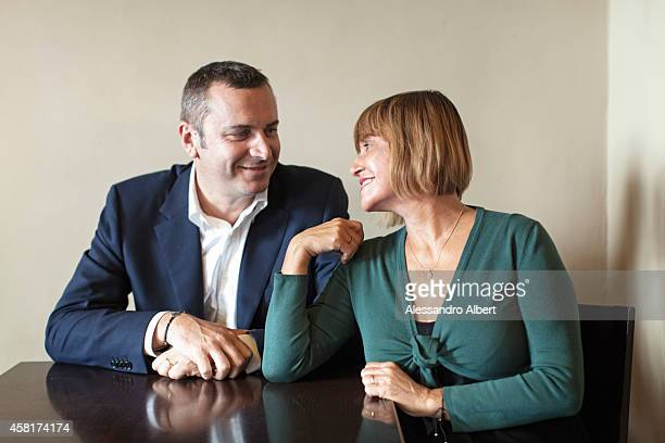 Actor and his wife Andrea Zalone Germana Pasquero is photographed for Famiglia Cristiana Italy on May 23 2014 in Turin Italy