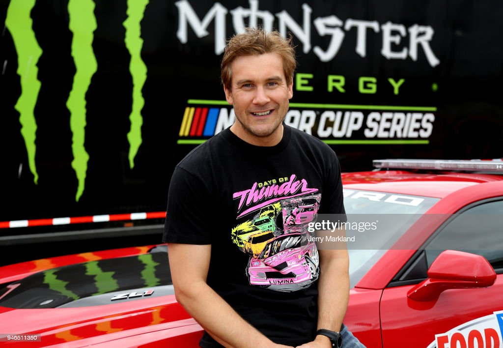 Actor and honorary pace car driver Clive Standen poses for photos prior to the start of the Monster Energy NASCAR Cup Series Food City 500 at Bristol Motor Speedway on April 15, 2018 in Bristol, Tennessee.