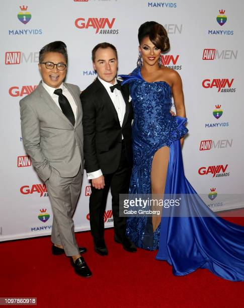 Actor and host Alec Mapa AVN Media Network CEO Tony Rios and television personality and host Shangela Laquifa Wadley attend the 2019 GayVN Awards...