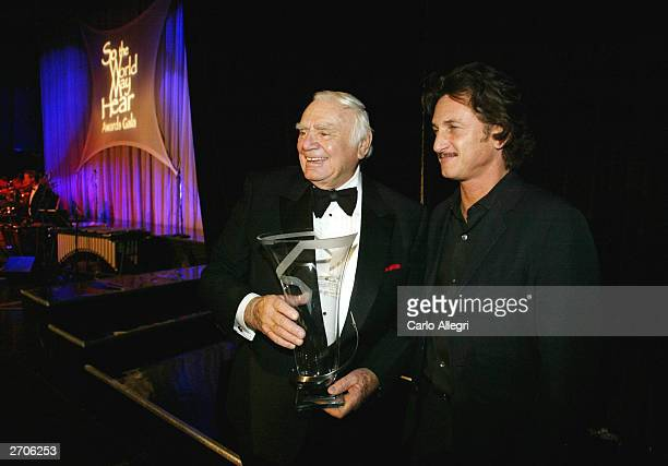 Actor and Humanitarian of the Year award winner, Ernest Borgnine and Sean Penn pose backstage at the �So the World May Hear Awards Gala� fund raising...