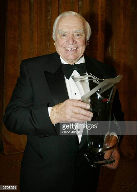 Actor and Humanitarian of the Year award winner, Ernest Borgnine laugh backstage at the �So the World May Hear Awards Gala� fund raising event at the...