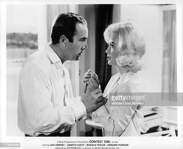 Actor and Janette Scott in a scene from the film 'Contest Girl' 1964