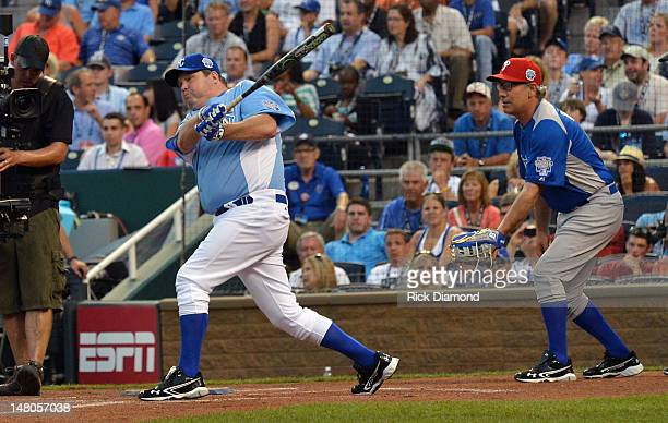 Actor and Kansas City native Eric Stonestreet and Extreme Makeover Home Edition's Paul Dimeo attends the 2012 Taco Bell AllStar Legends Celebrity...