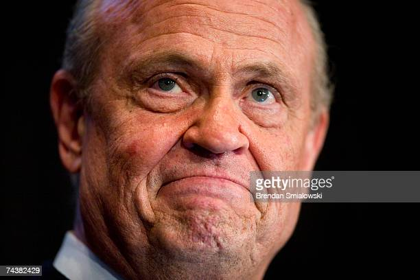 Actor and lawyer Fred Thompson pauses while speaking during the Republican Party of Virginia's 2007 Commonwealth Gala June 2 2007 in Richmond...