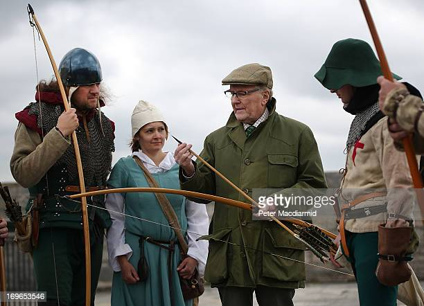 Actor and longbow expert Robert Hardy talks with Purbrook Bowmen at Southsea Castle as part of a day of events to mark the opening of the Mary Rose...