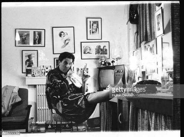 Actor and manager Brian Rix in his dressing room at the Whitehall Theatre