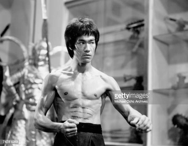 Actor and martial artist Bruce Lee poses for a Warner Bros publicity still for the film 'Enter the Dragon' in 1973 in Hong Kong