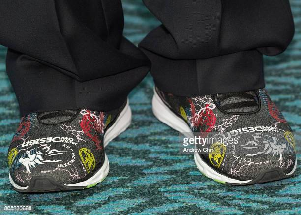 Actor and martial artist Jackie Chan shoe detail celebrates Hong Kong Airlines' inaugural flight to Vancouver BC at Vancouver International Airport...