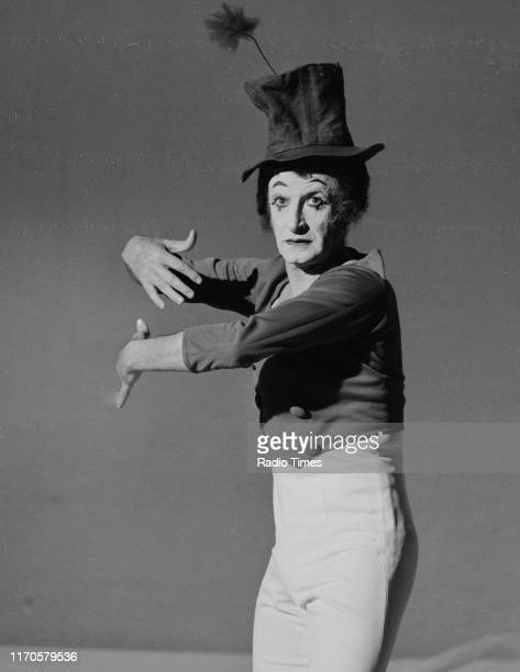 Actor and mime artist Marcel Marceau performing for the BBC television special 'Omnibus: Marcel Marceau, The Man Behind the Mask', May 5th 1972....