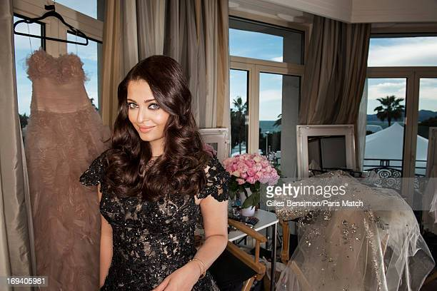 Actor and model Ashwarya Rai wearing a dress by Elie Saab is photographed for Paris Match on May 19 2013 in Cannes France