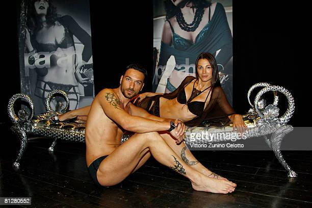 Actor and model Costantino Vitagliano and his girlfriend model Linda Santaguida showcase designs from the Parah Noir Autumn/Winter 200809 new mens...