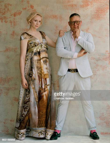 Actor and model Gwendoline Christie with fashion designer Giles Deacon is photographed for the Telegraph on July 26 2016 in London England