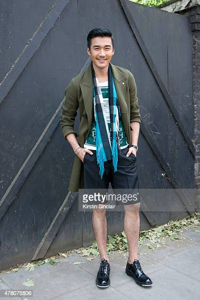 Actor and model Hu Bing on day 4 of London Collections Men on June 15 2015 in London England