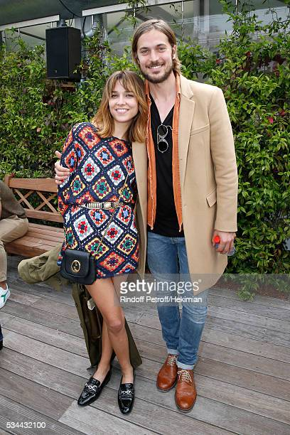 Actor and model Lucas Bravo and his companion singer Louise Verneuil attend the 2016 French Tennis Open Day Five at Roland Garros