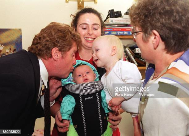 Actor and musical star Michael Crawford meets threemonthold Keeva and 19monthold Maia who donated bone marrow to her sick sister with mother Lynn...