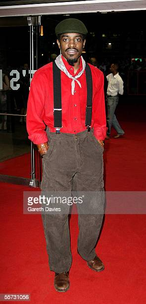 """Actor and musician Andre 'Andre 3000' Benjamin arrives at the UK premiere of """"Revolver"""" at the Odeon Leicester Square on September 20, 2005 in..."""