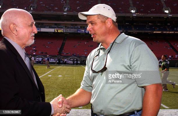 Actor and musician Dominic Chianese meets with New York Jets alumni Joe Klecko when he attends the New York Jets vs New York Giants Game at The...