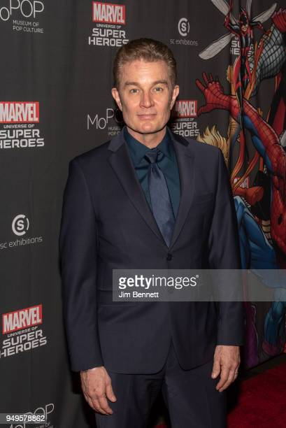 Actor and musician James Marsters walks the red carpet at the opening of the Marvel Universe of Super Heroes exhibit at MoPop on April 20 2018 in...
