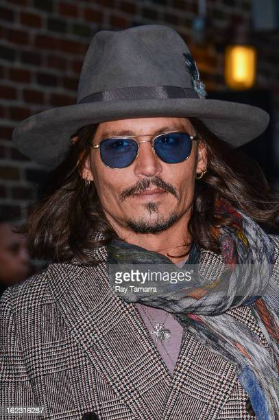 Actor and musician Johnny Depp leaves the Late Show With David Letterman taping at Ed Sullivan Theater on February 21 2013 in New York City