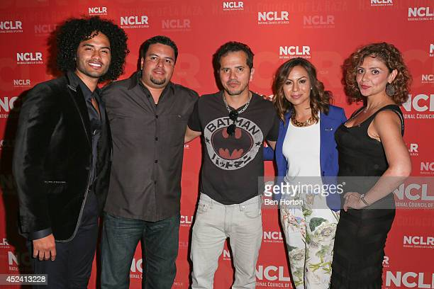 Actor and musician Manwell Reyes VP of programming Rene Aquirre actor John Leguizamo comedian Anjelah Johnson and senior vice president of NUVOtv...